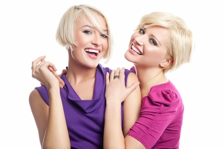 Attractive blonde friens smiling photo