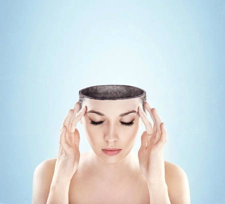 Conceptual image of a open minded woman , lots of copy space Stock fotó