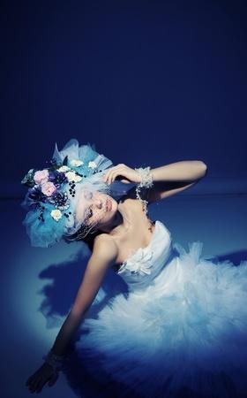 Beauty brunette in white dress Stock Photo - 9234766