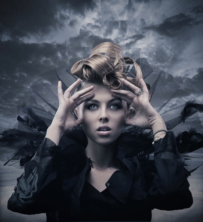 Vogue style photo of a gothic woman Stock Photo - 9234792