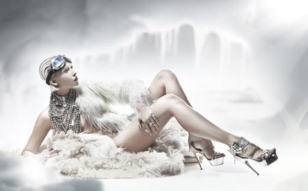 Sexy blonde lady wearing fur photo