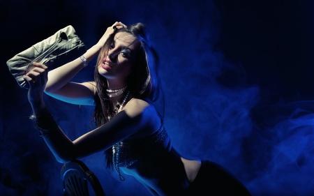 handbags: Vogue style photo of a sexy woman Stock Photo