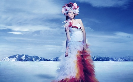 La mariée dans les montagnes de neige Banque d'images