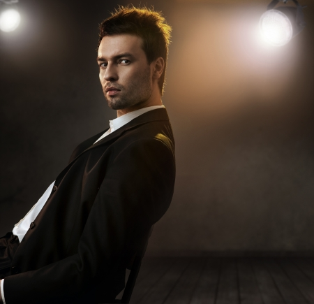 elegance: Gorgeous fashion style photo of an elegant man Stock Photo