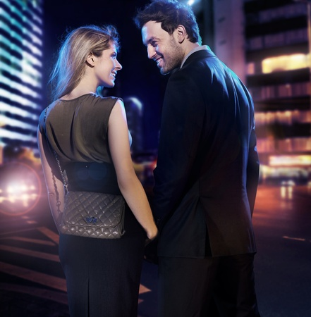 Amazing couple in love over the city background Stock Photo - 9468268