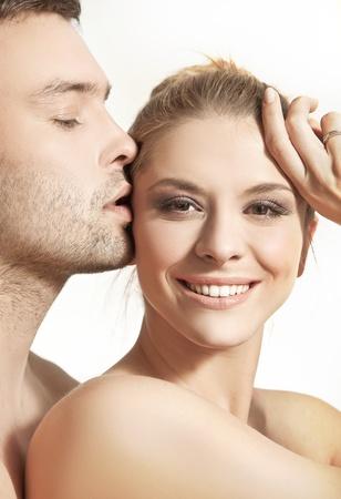 Closeup portrait of a happy young couple photo