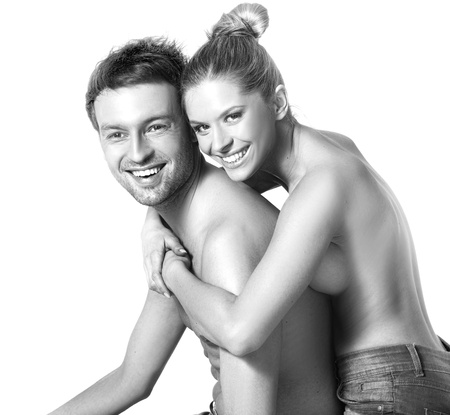Closeup portrait of a happy young couple Stock Photo - 9468005