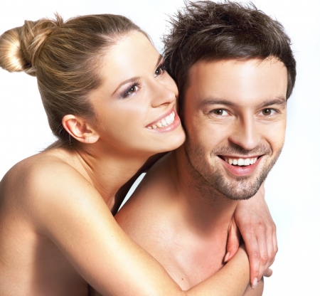Closeup portrait of a happy young couple Stock Photo - 9468238