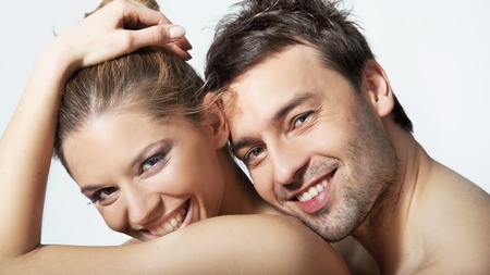 Portrait of happy young woman and man smiling together Stock Photo - 9467991