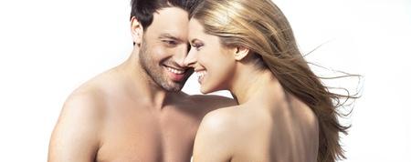 femme romantique: Portrait de happy jeune femme et homme souriant ensemble Banque d'images