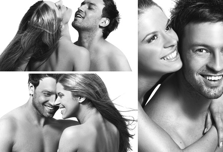 three views of a smiling couple in love photo