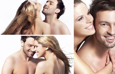 novio: tres vistas de la joven pareja feliz