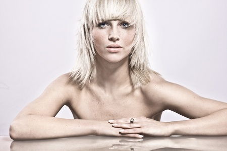 Amazing portrait of beautiful young blonde girl Stock Photo - 9343286
