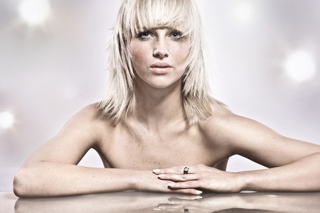 Amazing portrait of beautiful young blonde girl Stock Photo - 9343285