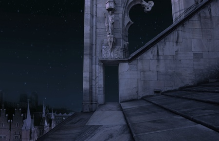 The part of the old castle at night