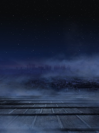 Amazing view of city at the night,dark clouds over urban background photo