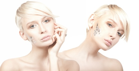 Two cute woman with stars on face photo
