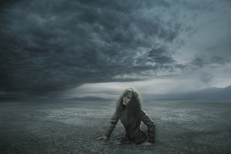 Lost woman in stormy day Stock Photo - 9343429