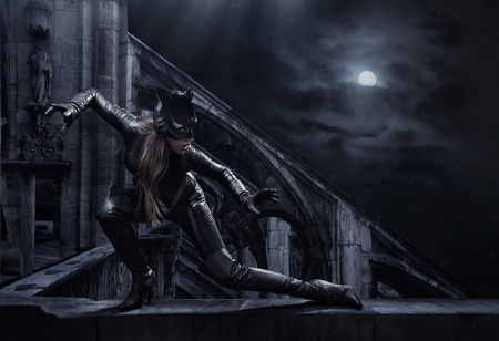 catwoman: Amazing catwoman hunting at night Stock Photo