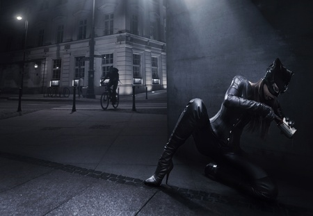 Catwoman hunting on the night city background photo