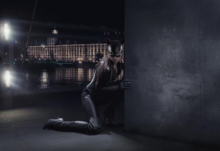 Amazing catwoman hunting at night photo