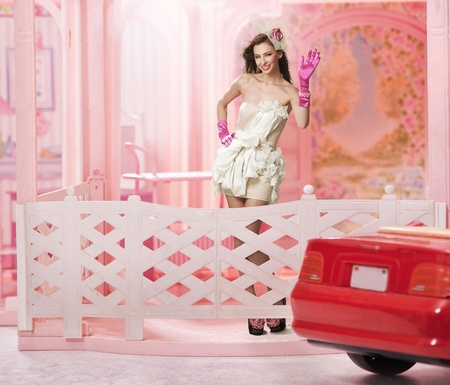 Doll like brunette in a doll house photo