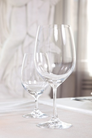 Wine glasses on the table photo