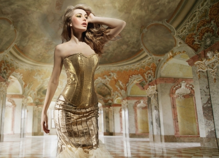Fine art photo of a young fashion lady in a stylish interior photo