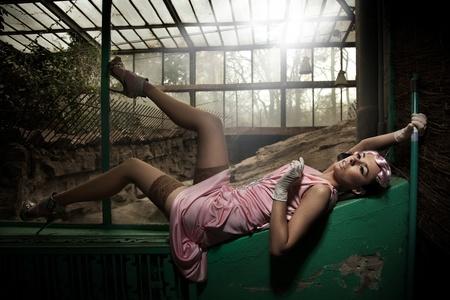 avantegarde: Sexy young woman lying and posing