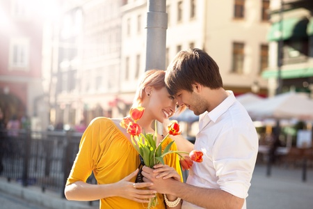 hansome: Cute hansome couple on date with flowers