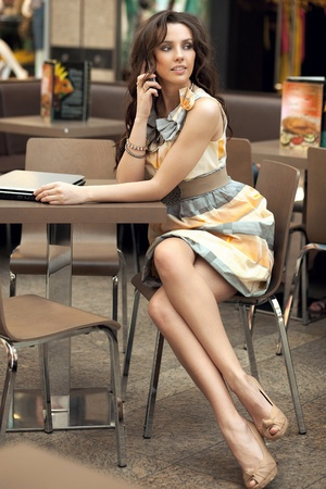 secretary woman: Beautiful businesswoman talking on the phone  Stock Photo