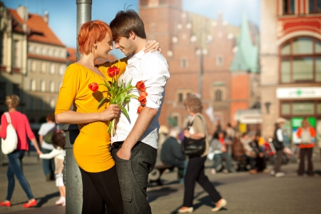 Handsome couple in love on a date Stock Photo - 9942084