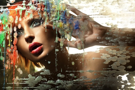 excitation: Colorful portrait of a beautiful redhead lady