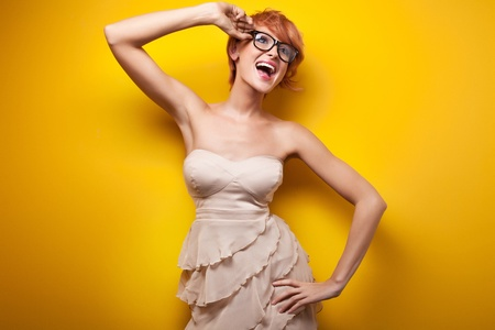 tender tenderness: Beautiful woman smiling Stock Photo