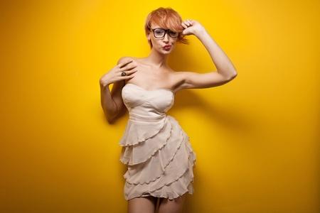 Happy woman wearing glasses