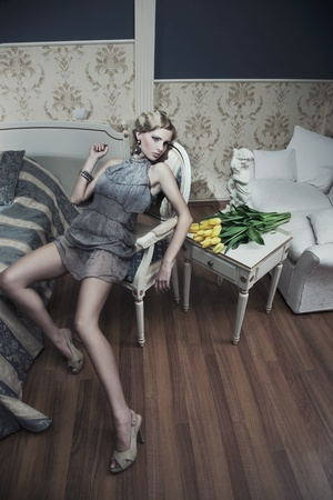blonde beauty in a vintage room Stock Photo - 9965362