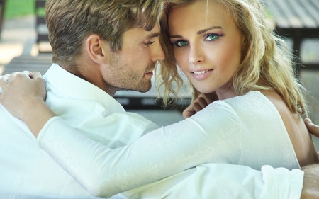couples outdoors: Beautiful portrait of sexy couple Stock Photo