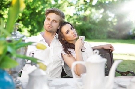 Young marriage in the garden photo
