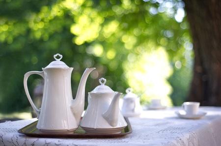 garden table: Coffee table in a garden Stock Photo