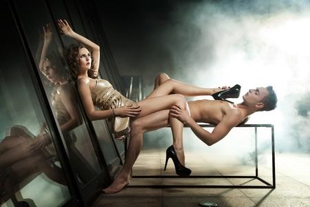nude male: Amazing photo of sexy couple posing Stock Photo