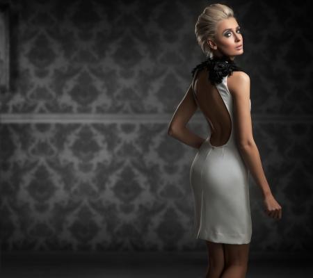 glamours: Sexy woman wearing white dress Stock Photo