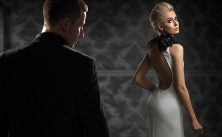 sensuality: Handsome couple in a dark room