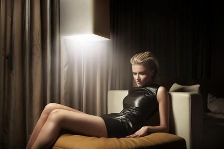 sexy black dress: Sexy woman in little black dress