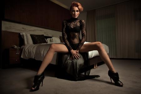 tender tenderness: Elegant woman in hotel room