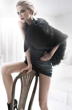tender tenderness: Fashion woman in white interior