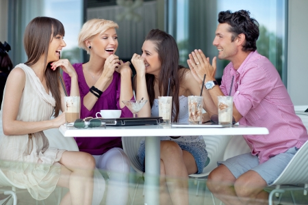 a marriage meeting: Cheerful group of friends Stock Photo