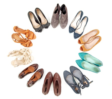 shoe store: Many pairs of shoes in circle