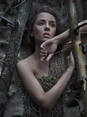nude nature: Portrait of a woman wearing a seersucker dress