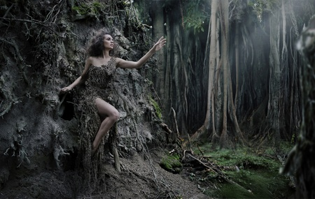 nymph: Sexy woman as a part of tree Stock Photo