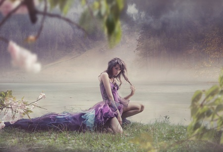 fantasy: Beauty woman in fairy scenery Stock Photo